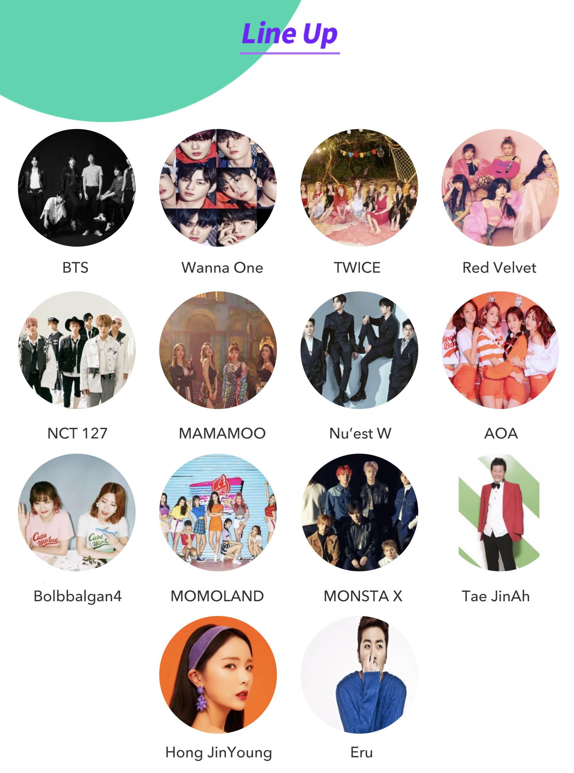 2018 Soribada Best K-Music Awards- Lineup