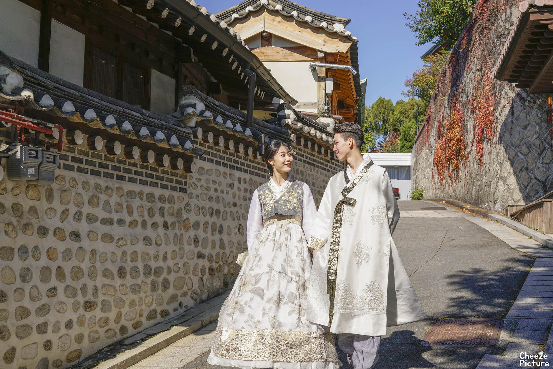 Korea Pre Wedding Hanbok Snap Photo Bukchon Hanok Village Hab
